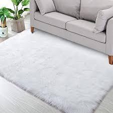 bedee teppich wohnzimmer faux lammfell schaffell teppich kunstfell dekofell lammfellimitat teppich weiß hochflor teppiche for schlafzimmer