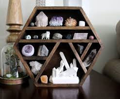 One Of A Kind Handmade Hexagon Wood Wall Shelf With Crystal Collection Sculpture And Handy Maiden Arctic Fox