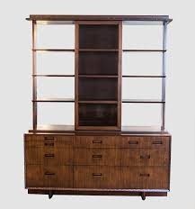 Henredon Breakfront China Cabinet by Frank Lloyd Wright For Henredon Credenza With Matching Hutch