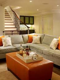Cozy chic blue gray tobacco basement living space design Gray