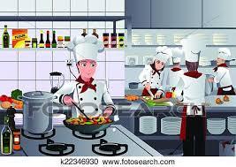 Clipart Of Scene Inside Restaurant Kitchen K22346930