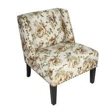 DecentHome DecentHome Undertint Floral Print Fabric Lien Chair For ...