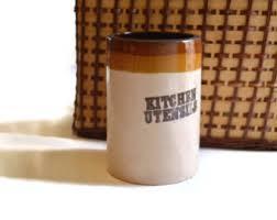 Vintage 1970s Stoneware Utensils Jar Retro Kitchen Pottery Tan Brown Stenciled Country Farmhouse Rustic Decor