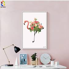 Flower Flamingo Canvas Art Print Poster Wall Paintings For Girls Room Decoration Picture Home