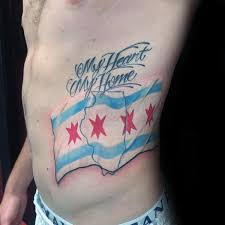 My Heart Home Mens Chicago Flag State Outline Rib Cage Side Tattoos