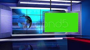 News TV Studio Set 32 Virtual Green Screen Background Loop Stock Footage