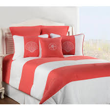 Victor Mill Shell Island Coral forter or Duvet Cover Bed Set