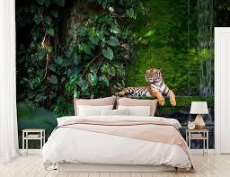fototapete wald mit tiger urwald fototapeten tapete wandbild dschungel raubkatze wasser m5732