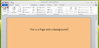 KB0060 Print Page Background In Word 2010
