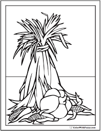 Thanksgiving Harvest Coloring Page Corn Or Wheat Shock Pumpkin Ears Of