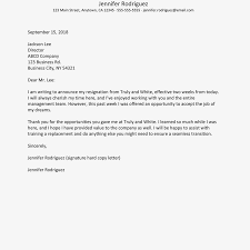 2 Weeks Notice Resignation Letter Example