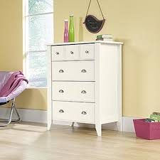 Sauder Harbor View Dresser Antiqued White Finish by Sauder Shoal Creek 4 Drawer Soft White Chest 411197 The Home Depot