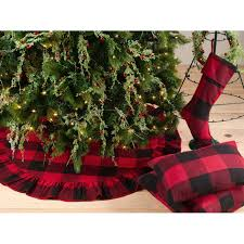 Shop Buffalo Plaid Ruffle Design Decorative Cotton Christmas Tree Skirt