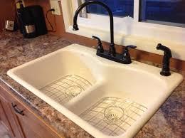 Kohler Langlade Smart Divide Sink by Kohler Langlade Smart Divide Drop In Cast Iron 33 In 5 Hole