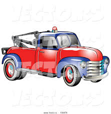 100 Tow Truck Vector Of Old Blue Red 1953 Chevy With A Light On Top Of