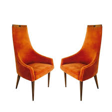 Pair Of Adrian Pearsall Tall Back Armchairs In Orange Velvet ...