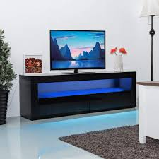 Tangkula Modern TV Stand High Gloss Media Console Cabinet Entertainment Center With LED Shelf And Drawers Black