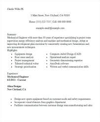 Resume Summary Template Example Of Mechanical Engineering Resume