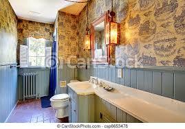 blaues antikes badezimmer original 1856 unverändert