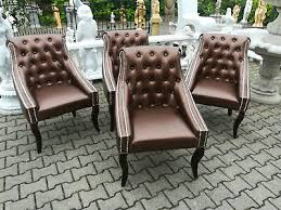 4x sessel chesterfield sofa polster lehn stuhl design luxus
