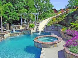 Water Slide And Fountain Swimming Pool Retaining Walls Mediterranean