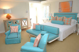 Bedroom Bright Interior Design Dark Brown Bed Frame Inspirations Orange Decor 2017 Awesome Turquoise Decoration With White Combine Headboard Also Cozy Bench