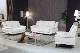 Milano Modern Leather Sofa Set White