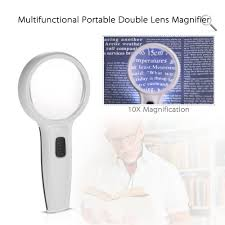 Magnifier Lamp 10x Magnification by 10x 75mm Multifunctional Portable Double Lens High Power Sales