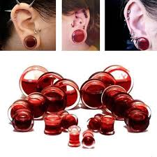Pair Blood Red Liquid Filled Ear Plugs Flesh Tunnels Gauges Saddle Body Piercing Jewelry Reamer