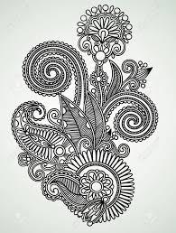 Hand Drawn Line Art Ornate Flower Design Ukrainian Traditional Style So Pretty Tattoo Inspiration