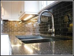 black glass subway tile backsplash tiles home design ideas