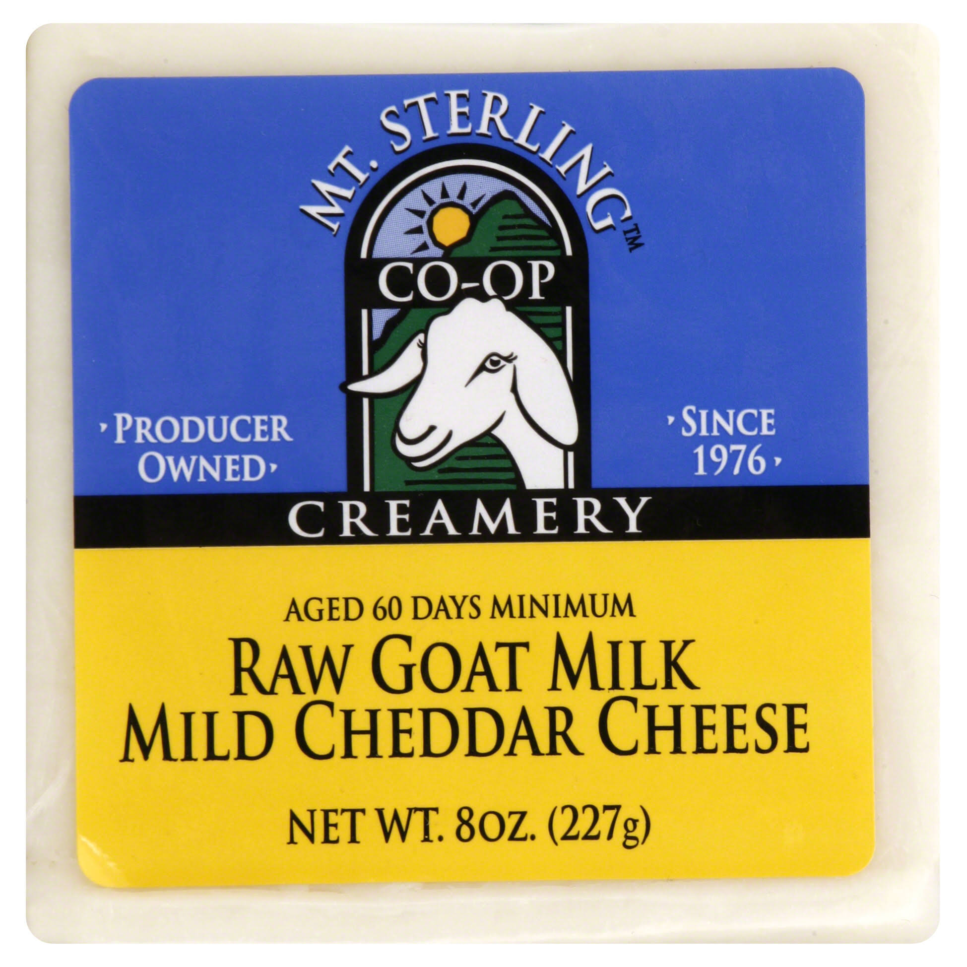 Mt Sterling Creamery Cheese, Mild Cheddar, Raw Goat Milk - 8 oz