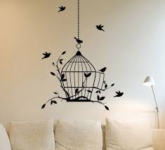 Bird Wall Art Birds Birdcage And Vinyls Sticker Decal Living Room Decor