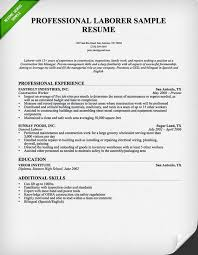 Consruction Laborer Resume Professional Construction