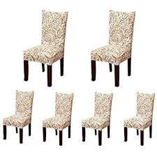 6 X Soulfeel Soft Spandex Fit Stretch Short Dining Room Chair Covers With Printed Pattern Banquet Seat Protector Slipcover For Hone Party Hotel