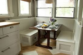 simple diy breakfast nook set with white wood storage bench under