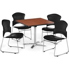 100 Cherry Table And 4 Chairs Square And Stack Chair Set PKGBRK050005