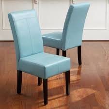 T Stitch Teal Blue Leather Dining Chairs Set Of 2 By Christopher Knight