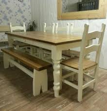 Shabby Chic Dining Room Table And Chairs by Simple Mirror Model On White Wall Paint Near Nice Pine Dining Room