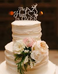Wedding Cake Topper The Hunt Is Over Deer Buck And Doe Rustic Wood Silver Gold