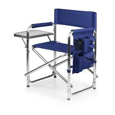 Picnic Time Navy Sports Portable Folding Patio Chair