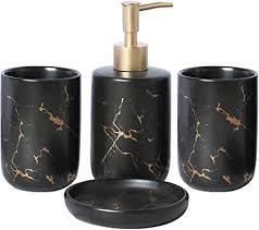 bqswyd edles bad accessoires set 4 teiliges stilvolles badzubehör mit marmor seifenspender seifenschale und zahnputzbecher badezimmer zubehör set