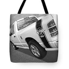 100 Rumble Bee Truck Dodge In Black And White Tote Bag For Sale By Gill Billington