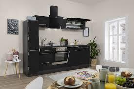 respekta küchenzeile küche einbauküche küchenblock hochglanz 250cm eiche schwarz