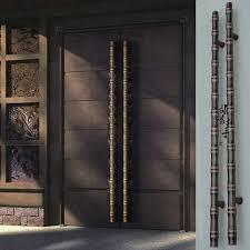 chinois antique bambou porte en verre en acier inoxydable poignée