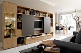 Light Wood Entertainment Center Wooden Wall Furniture With Hidden Tv Image