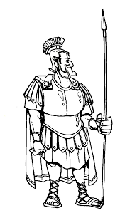 Centurion Cornelius In Armor And A Spear The Bible Heroes Coloring Page
