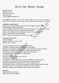 Daycare Cover Letter Picture Of Sample Child Care Worker Resume Examples How