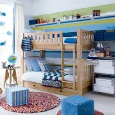 Fun Toddler Boy Bedroom Ideas Full Colors Striped Wall Modern Kids Childs Boys Girls Two Level Beds PamPai