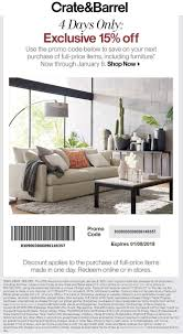 Crate & Barrel Coupons - 15% Off At Crate & Barrel, Or Pottery Barn Fniture Shipping Coupon 4 Corner Fingerboards Coupon Code Crate Barrel Coupons Doki Coupons Hello Subscription And Barrel Code 2013 How To Use Promo Codes For Crateandbarrelcom Black Friday 2019 Ad Sale Deals Blacker And Discount With Promotional Emails 33 Examples Ideas Best Practices Asian Chef Mt Laurel Taylor Swift Shop Promo Codes Crateand 15 Off 2018 Galaxy S4 O2 Contract